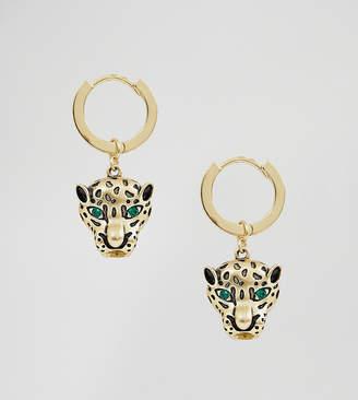 Orelia gold plated huggie hoop with leopard drop