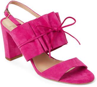 Alexander White Magenta Luisa Block Heel Sandals