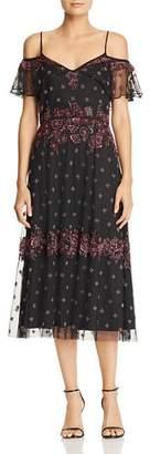 Adrianna Papell Embellished Cold-Shoulder Dress