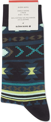 Bjorn Borg Mens Green Luxury Novajo Cotton-Blend Ankle Socks