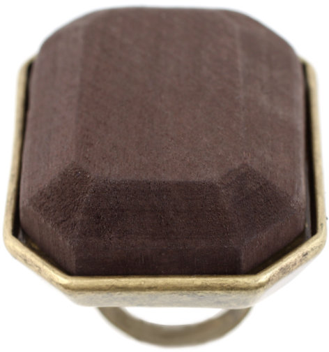 ASOS Oversized Adjustable Cocktail Ring With Wood Front Detail
