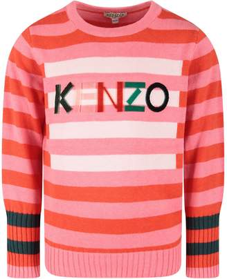 Kenzo Pink And Red Babygirl Sweater With Logo