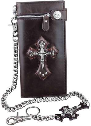 Hunter crazy Punk Rock Skull Cross Mens Leather Long Card Money Wallet Purse With Chain L75