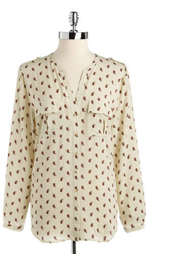 Vince Camuto TWO BY Printed Button-Down Utility Blouse