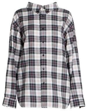 Balenciaga Plaid Swing Collar Flannel Shirt