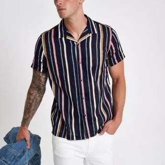 River Island Mens Navy stripe revere short sleeve shirt
