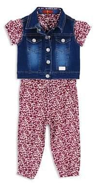 7 For All Mankind Girls' Denim Vest & Floral Romper Set - Little Kid