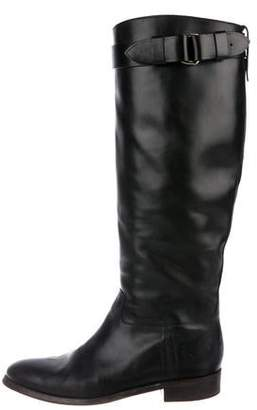 Burberry Leather Round-Toe Knee-High Boots