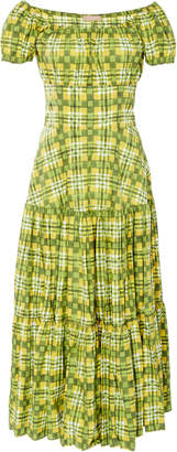 Michael Kors Crushed Cap-Sleeve Cotton Tiered Dress