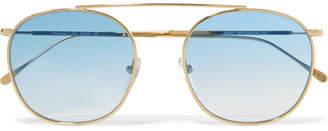 Illesteva Mykonos Ii Square-frame Gold-tone Sunglasses - Blue