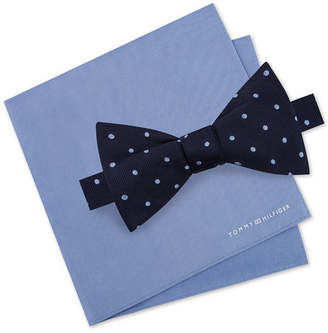 Tommy Hilfiger Men's Dot To-Tie Silk Bow Tie & Solid Silk Pocket Square Set