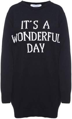 Alberta Ferretti 'it's A Wonderful Day'-intarsia Cashmere And Wool Blend Knit Dress