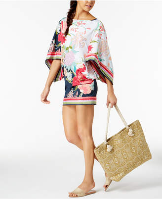 Trina Turk Royal Botanical Floral-Print Tunic Cover-Up Women's Swimsuit