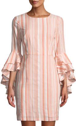 Maggy London Striped Double-Flounce Sheath Dress