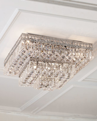 At horchow horchow eight light crystal flush mount ceiling fixture