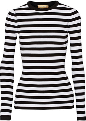 Michael Kors Collection - Striped Ribbed Stretch-knit Sweater - White $550 thestylecure.com