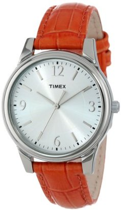 Timex Women's T2P087TN Orange Croco Patterned Leather Strap Dress Watch $29.99 thestylecure.com