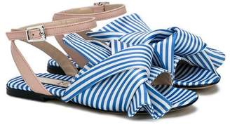No21 Kids candy stripe folded sandals
