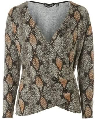 Dorothy Perkins Womens Neutral Snake Print Wrap Top