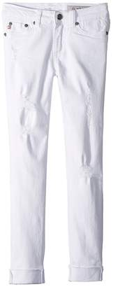 AG Adriano Goldschmied Kids The Jane Skinny Crop Raw Edge Roll Cuff in White Girl's Jeans