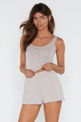 Nasty Gal Rib Button Placket Lounge Vest And Short Set
