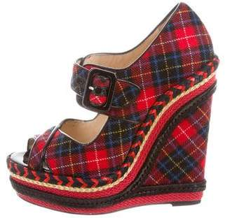 Christian Louboutin Plaid Peep-Toe Wedges
