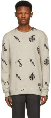 The Elder Statesman Black Cashmere Intarsia Sweater