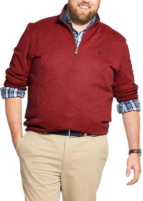 Izod Mens Long Sleeve Quarter-Zip Pullover Big and Tall