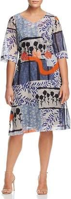 Marina Rinaldi Dragone Belted Botanical-Print Dress
