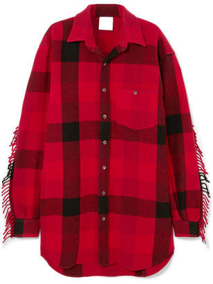 Vetements Oversized Fringed Checked Wool-blend Flannel Shirt - Tomato red