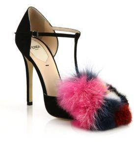 Fendi Suede, Mink & Fox Fur T-Strap Sandals