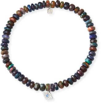 Sydney Evan 14k Ethiopian Opal Beaded Stretch Bracelet w/ Evil Eye