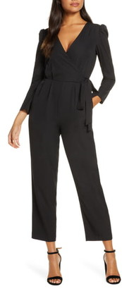 Julia Jordan Long Sleeve Wrap Front Jumpsuit