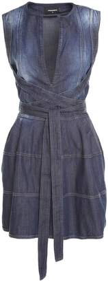DSQUARED2 Belted Faded-denim Mini Dress