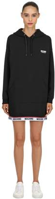Moschino Hooded Logo Band Sweatshirt Dress