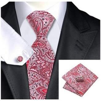 Hi Tie Red Black Paisley Classic Silk Necktie Tie Hanky and Cufflinks Set For Men
