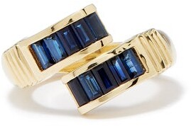 Retrouvai - Buckle Sapphire & Gold Ring - Womens - Blue