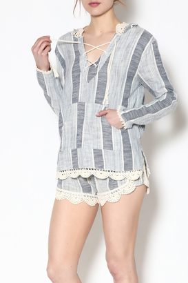 Vintage Havana Woven Hooded Sweater $58 thestylecure.com