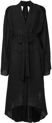 Barbara I Gongini cold shoulder tie waist jacket