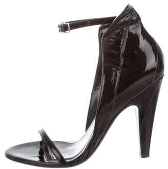 Calvin Klein Patent Leather Ankle Strap Sandals Black Patent Leather Ankle Strap Sandals