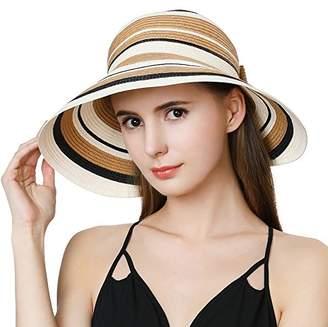 d64ba5ea73b036 BEIGE Jeff & Aimy Ladies Wide Brim Straw Visor Sunhat UV Protection SPF 50  Packable Beach