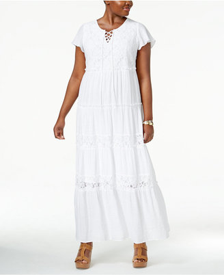 NY Collection Plus Size Peasant Maxi Dress $70 thestylecure.com