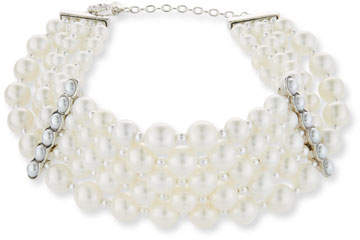 Jose & Maria Barrera Pearly Collar Statement Necklace