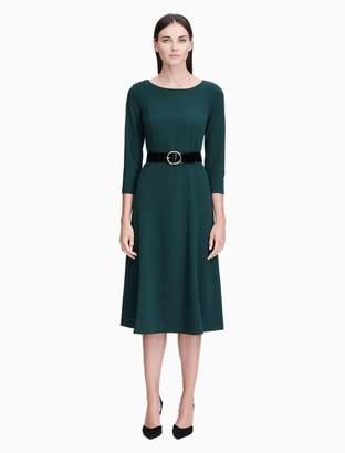 Calvin Klein belted 3/4 sleeve midi dress