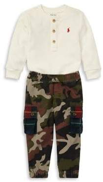 Ralph Lauren Childrenswear Baby Boy's Two-Piece Waffle Henley Cargo Pants Set