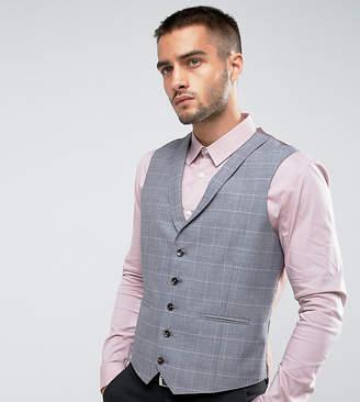 Burton Menswear Slim Waistcoat In Grey Check