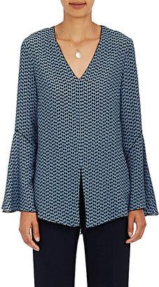 Derek Lam Women's Abstract-Print Silk V-Neck Blouse-BLUE $359 thestylecure.com