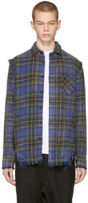 R 13 Blue Plaid Shredded Seam Shirt