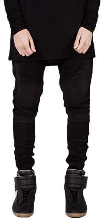 Dodomore Men Designed Straight Slim Fit Biker Jeans Pant Denim Trousers Foot Black In Size 32