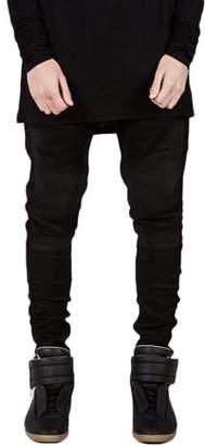 ItsyourturnB Men Designed Straight Slim Fit Biker Jeans Pant Denim Trousers Foot Black In